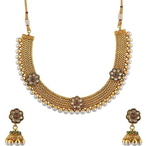 YouBella Traditional Jhumki Pearl Temple coin Jewellery Set for Women