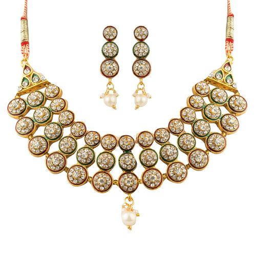YouBella Traditional Gold Plated Necklace Set / Jewellery Set with Earrings for Women