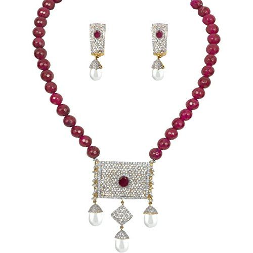 YouBella American Diamond Gold Plated Exclusive Necklace Set / Jewellery Set with Earrings for Girls and Women