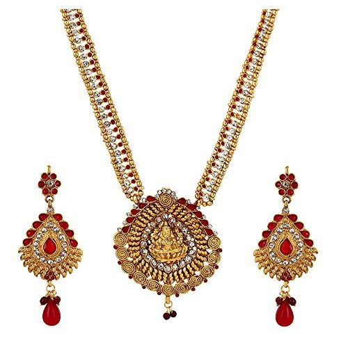YouBella Antique Traditional Maharani Temple Necklace Set / Jewellery Set with Earrings for Women