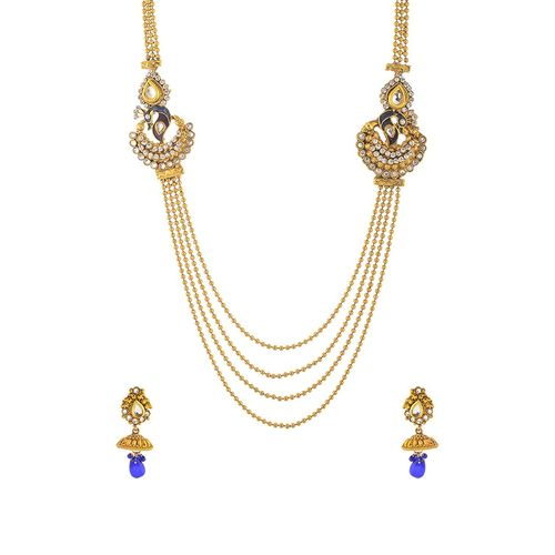 YouBella Antique Kundan Traditional Maharani Temple Necklace Set / Jewellery Set with Earrings for Women ...