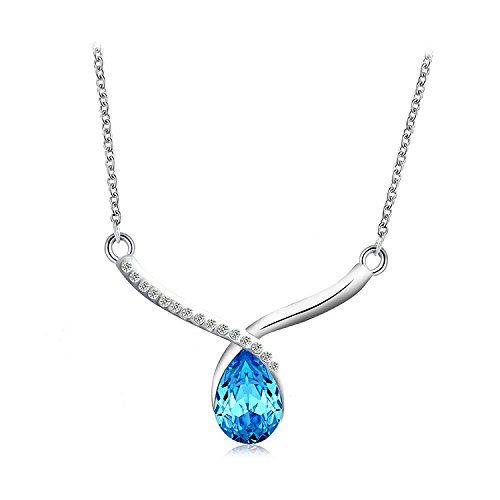 Garish Pool Blue Drop Intricated Crystal Necklace