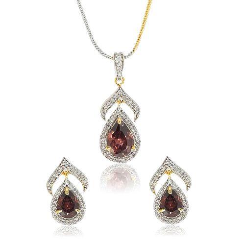 YouBella American Diamond Ethnic Pendant Set with Chain and Earrings