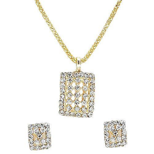 YouBella Australian Diamond Gold Plated Pendant Set with Chain and Earrings for Women