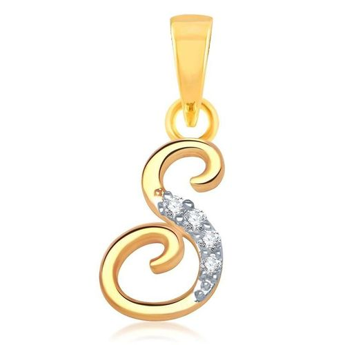 YouBella American Diamond Gold and Rhodium plated Jewellery Pendant - Letter
