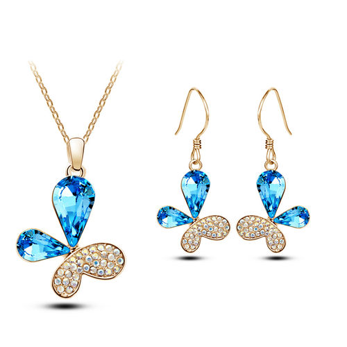 Cute Butterfly Shaped Blue Crsytal Pendant Set with Earrings