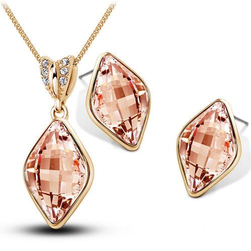 Cool Pink Diamond Shaped Pendant Set