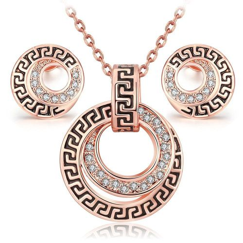 YouBella Jewellery Gracias Collection Ancient Style Rose Gold Plated Pendant Set / Necklace set with Earrings for Girls and Women