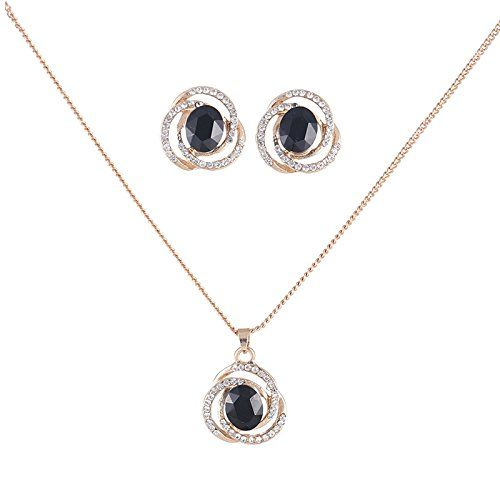 Youbella Presents Gracias Collection Black Crystal Jewellery Necklace Set / Pendant Set With Earrings For Girls And Women