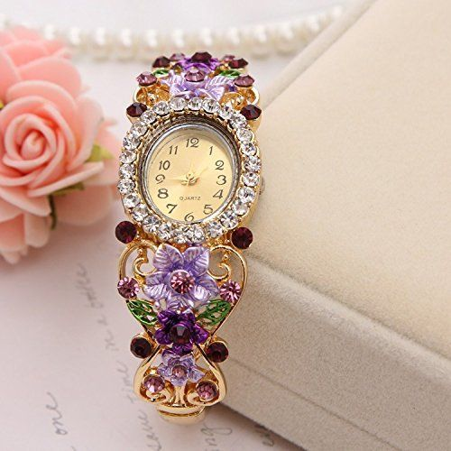 Glorious Concord Grape Crystal Jeweled  RoseGold Watch