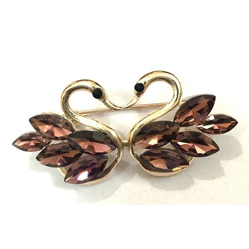 RoseGold Plated  Love Swan  Brooch (Dark Brown)