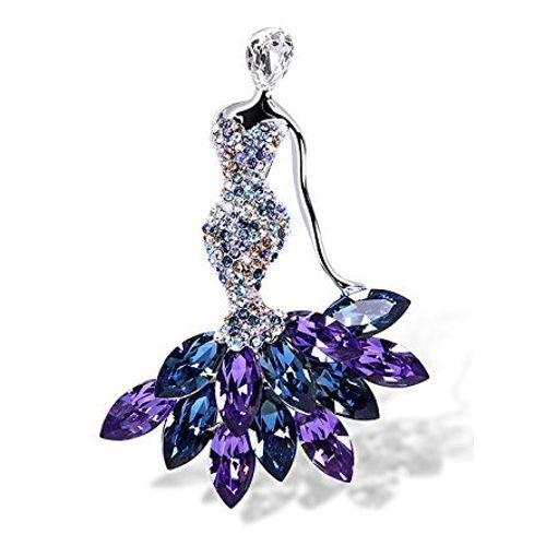 Youbella Jewellery Gracias Collection Dancing Doll Blue Crystal Saree Pin / Brooch For Women/Girls
