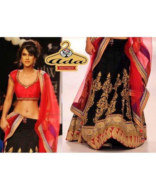 Nia Sharma Stylish Black Replica Lehenga