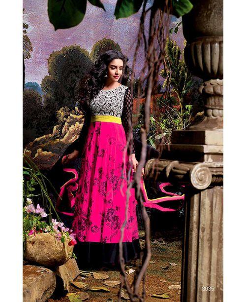 Asin Original Stylish Pink /Black Anarkali