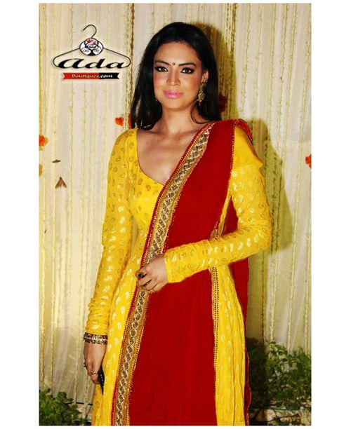 Sizzling  Yellow/Red Banarsi Dress
