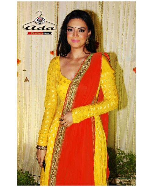 Sizzling Banarasi Yellow/Orange Dress