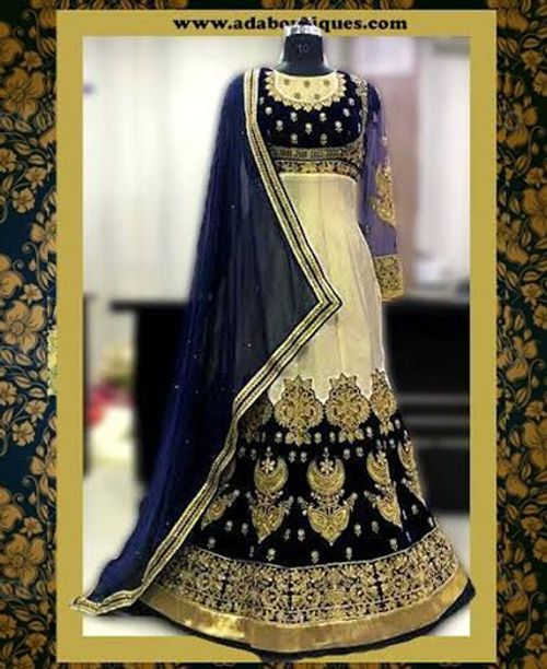 Stylish Golden/Navy Blue Dress