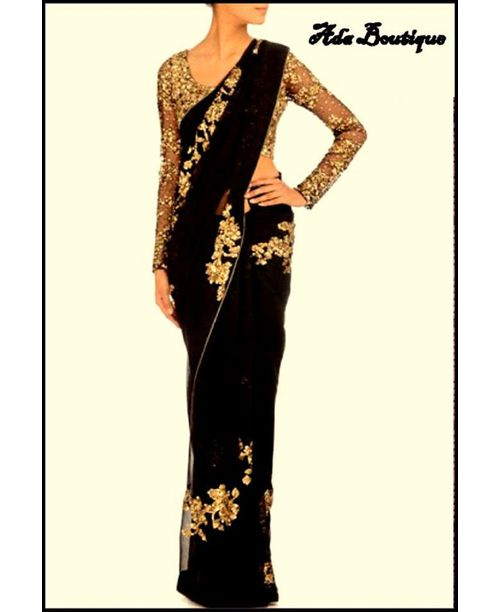 Glamourous Black/Golden Saree