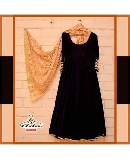 Ethnic Velvet Black /Golden Dress