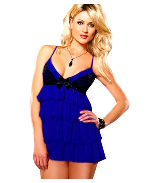 Navy Blue Fancy Nightwear