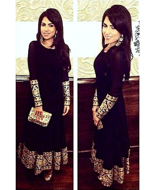 Glamourous Black Anarkali Dress