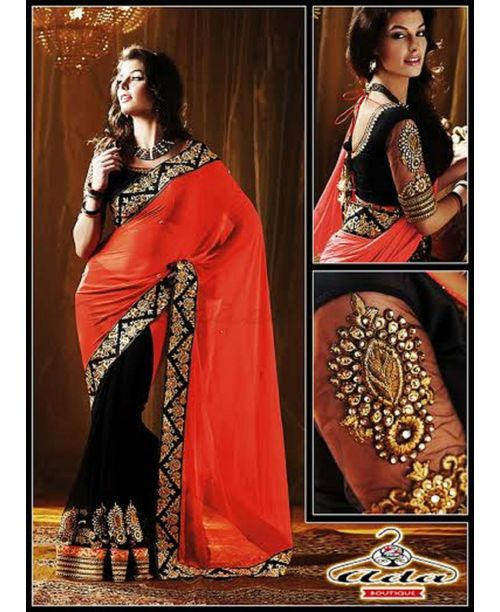 Glamourous Black/Orange Saree