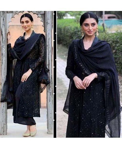 Trendy Black Gotta Patti Dress