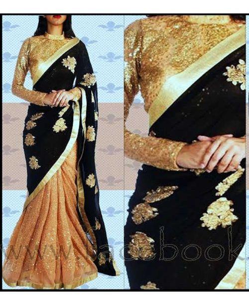 Glamourous Black / Beige Saree