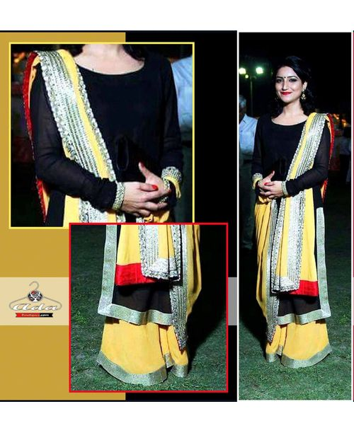 Stylish Black Yellow Dress