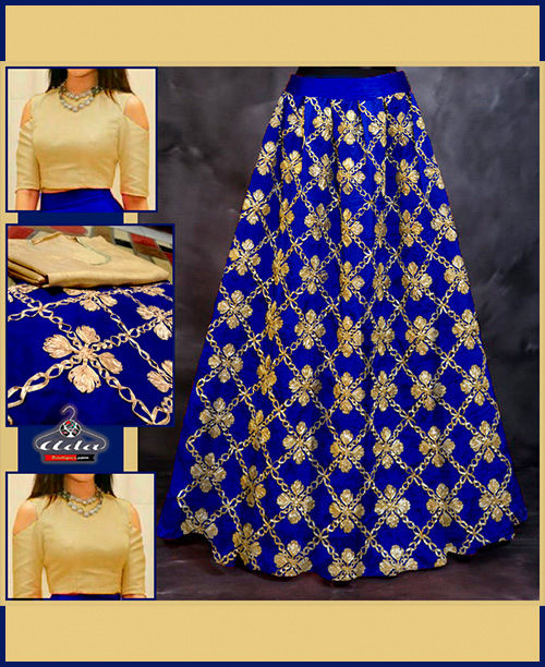 Blue Ethnic Skirt Dress With Beautiful Embroidery
