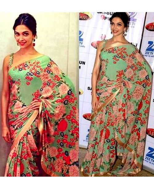 Deepika Green Floral Saree