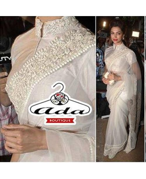 Deepika White Replica Saree