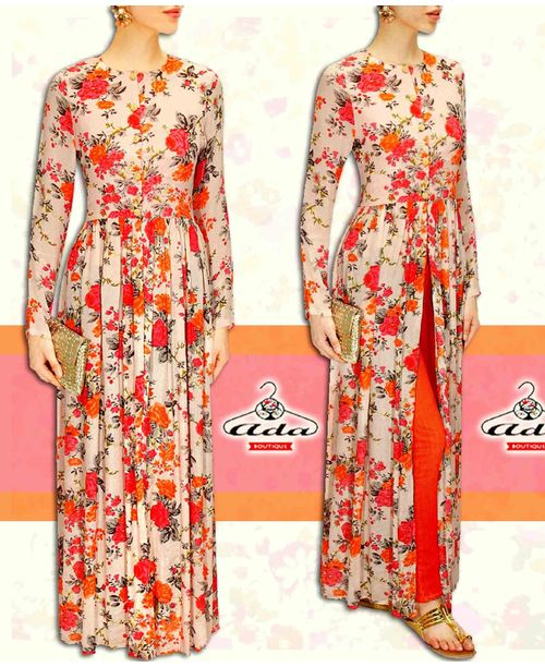 Trendy Floral Gown Dress