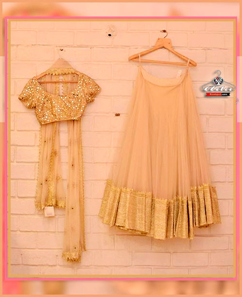 Soothing Golden Lehenga Dress