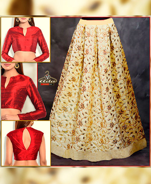 Bridal Skirt Dress With Beautiful Gotta Patti Work