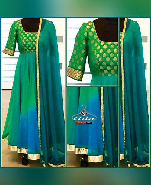 Green/Blue Anarkali Dress