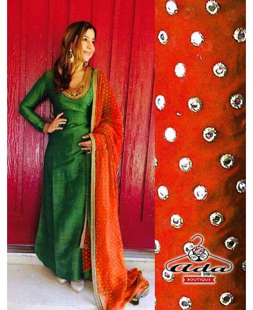 Stylish Green /Orange Dress