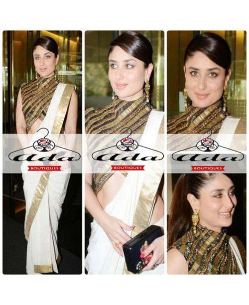 Kareena Kapoor white Georgette Saree