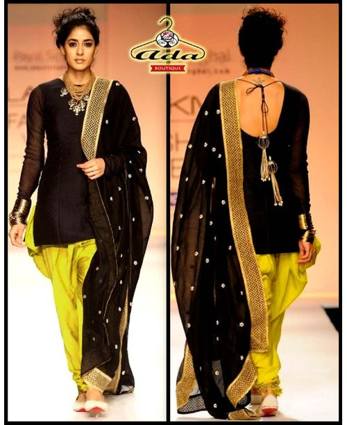 Sizzling Lemon / Black Patiala Dress