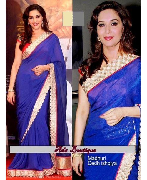 Glamourous Madhuri Dixit Blue Saree