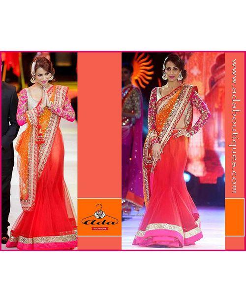 Malaika Red Orange Shaded Saree