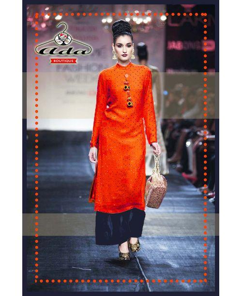 Stylish Orange/Navy Blue Dress