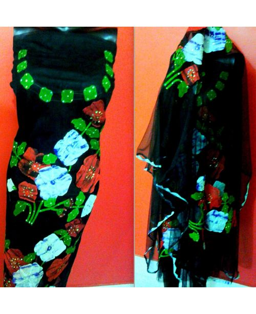 Multi Color Applique Work Dress