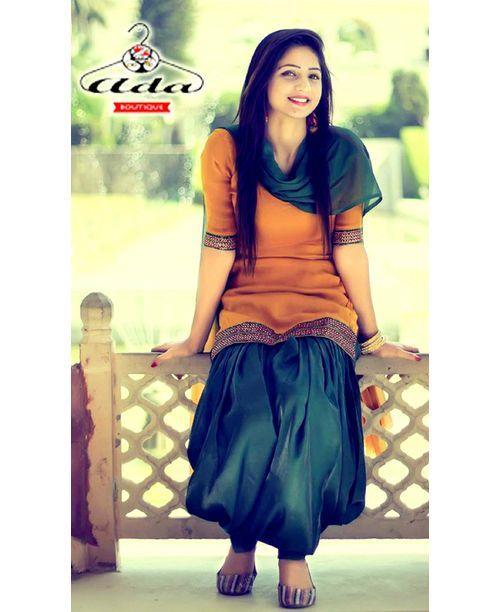 Stylish Mustard Green Patiala Dress