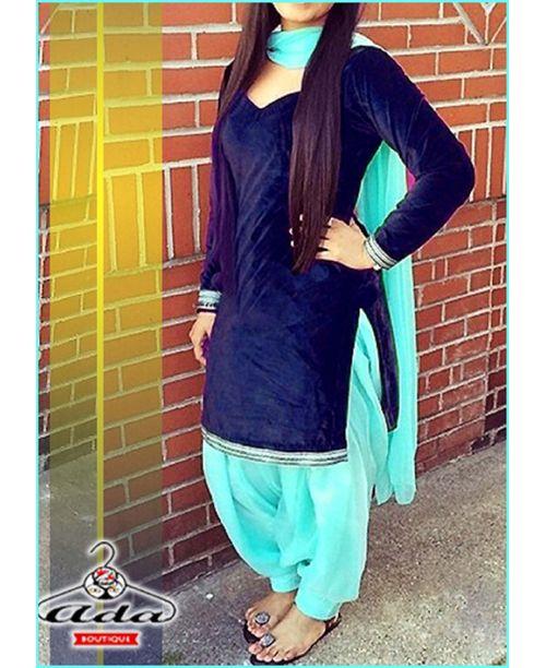 Stylish Navy Blue/Turquoise Blue Dress