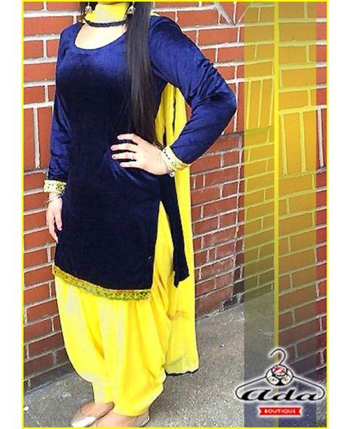 Stylish Navy Blue/Yellow Dress