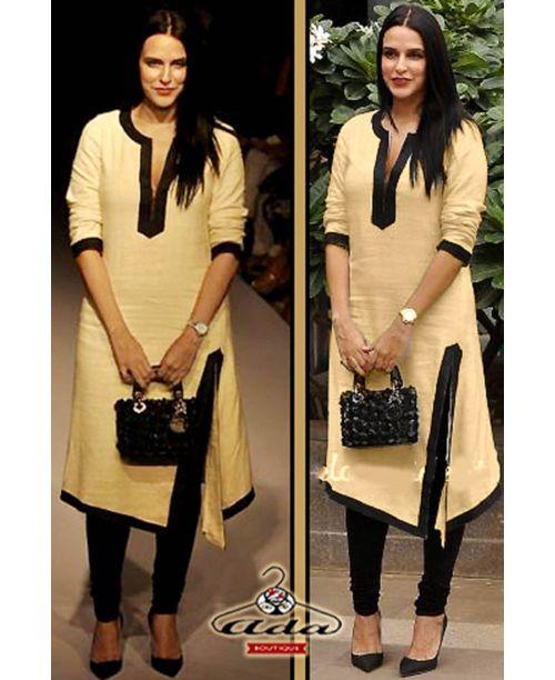 Neha Dhupia Beige/Black Dress