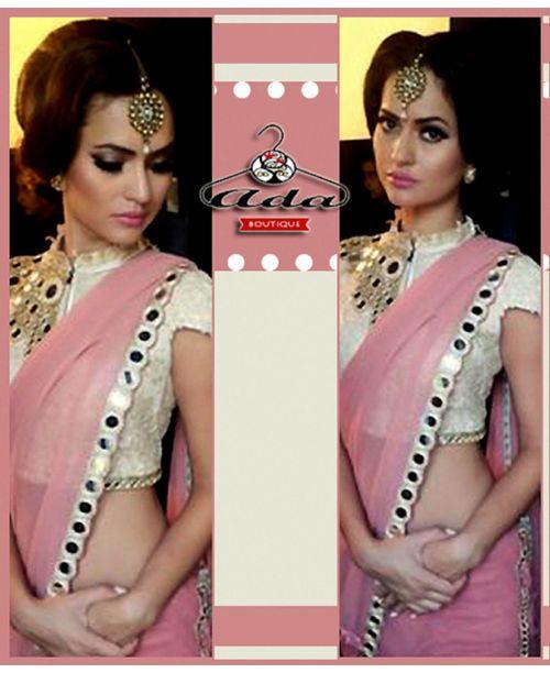Pink Mirror Saree