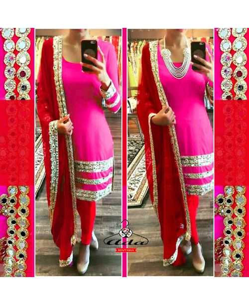 Stylish Pink/Red Mirror Gotta Dress