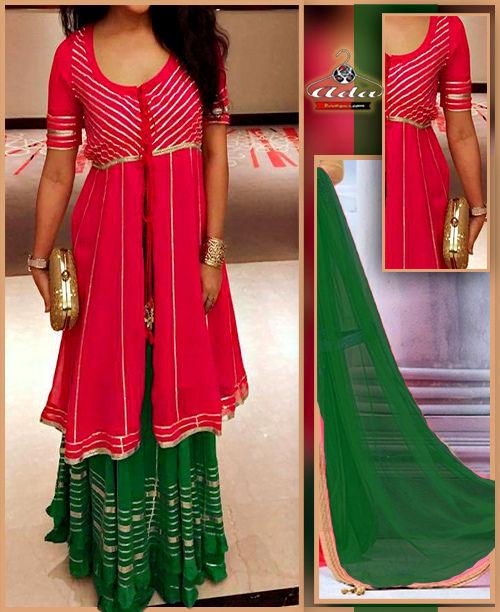 Ethnic Pink/Green Dress
